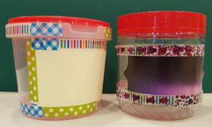 Plastic containers upcycled into pretty storage jars