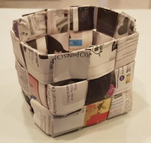Basket made from newspaper