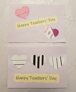 Teachers' Day cards decorated with hearts cut out from paper bags