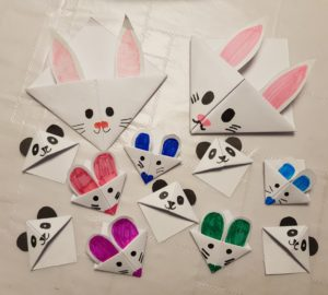Corner bookmarks - rabbits, pandas and mice